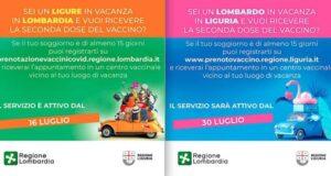 Vaccini anti covid, al via oggi la reciprocità tra Liguria e Lombardia