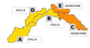 Maltempo, allerta meteo gialla ed arancione sulla Liguria