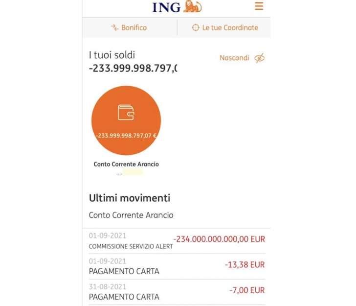 Caos Banca Ing per addebiti milionari, problema sul conto corrente rientrato