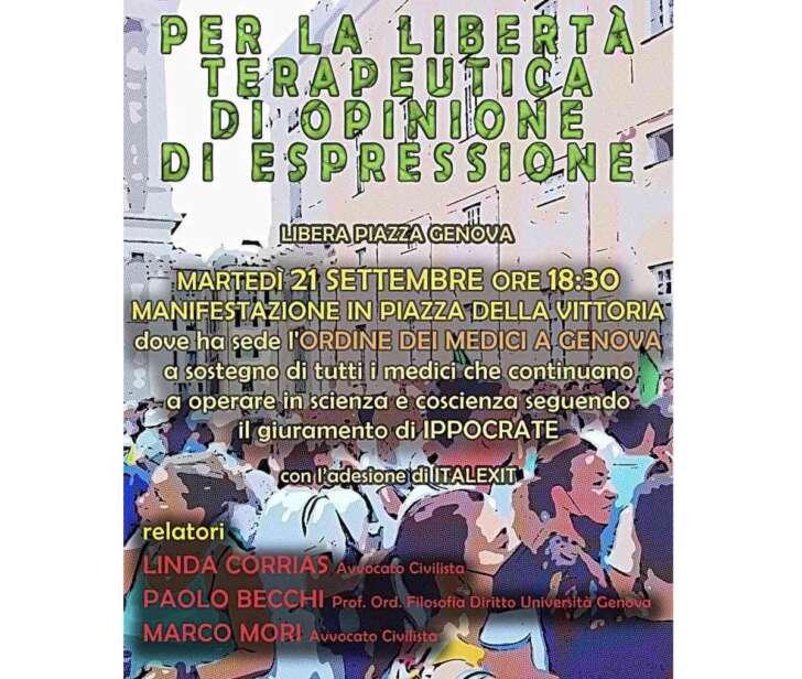 Oggi pomeriggio manifestazione sotto la sede dell'Ordine dei Medici
