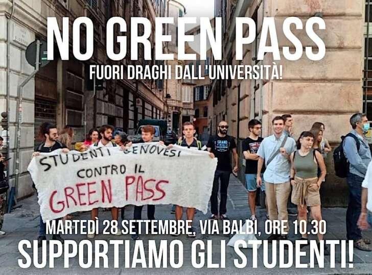 No Green pass, al mattino presidio università, al pomeriggio assemblea